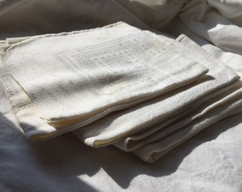 Antique Cotton Linen Serviettes, Thick White Cotton Napkins, French Dinner Table , Antique Dinner Napkins, Small Linen Towels, Set of Four