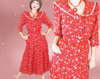 Vintage Red Dress - 40s Style with Sailor Collar - 80s does 1940s Midi