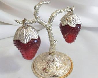 Vintage Hanging Strawberries Salt and Pepper Shakers