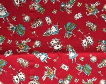 Half yard  Alice in wonderland fabric dark red colour Japanese fabric