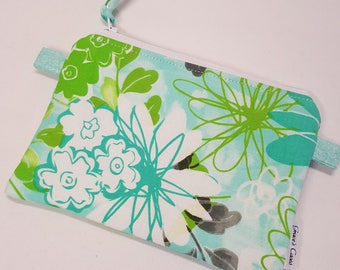 Mini zipper Pouch in Spring Green Floral