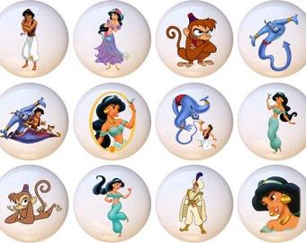 Set Of 12 Disney Aladdin Jasmine Ceramic Drawer Pull Cabinet Knobs
