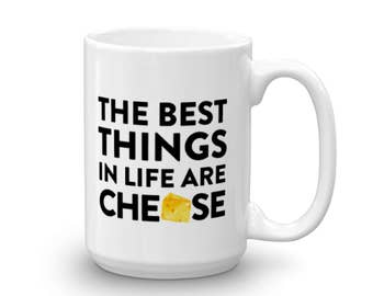 Ceramic Coffee Cup, Funny Gift For Him, Cheese Lover, Quote Mug, Unique Coffee Mugs, Black And White Mug, Best Friend Gift, Punny Mug Gifts