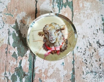 Glass Paperweight with Victorian Sheep and Vintage Map Collage Handmade
