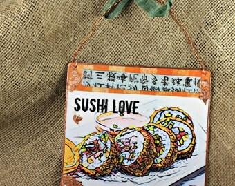 Sushi Lover Food Sign Wood Sign  Wall Decor Kitchem]n Wall Art Wall; Sign Sushi Eating
