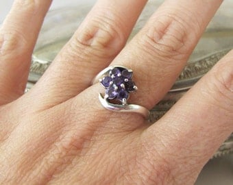 Amethyst CZ flower Sterling Silver Ring, Size 7.5