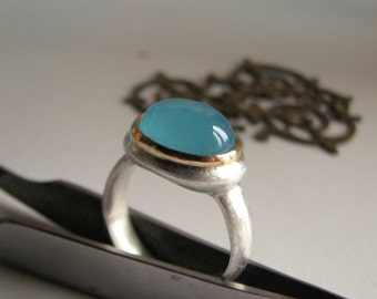 Ring, Sterling, 18k, Chalcedony, sea blue, ooak