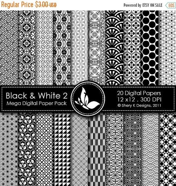 50% off Black & White 2 Mega Paper Pack - 20 Printable Digital papers - 12 x12 - 300 DPI ////// 2