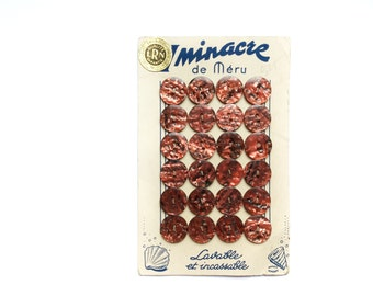 24 Rusty Red Buttons, French Vintage Button Card Iminacre