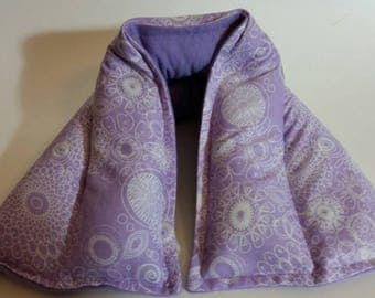 Hot/ Cold Herbal Therapy Neck, Knee and Ankle Wrap Purple with White design