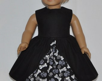 Black Doggy Paws and Bones Print Doll Dress Made To Fit 18 Inch American Girl Doll Clothes