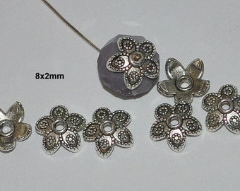 20 pcs Antique Silver 5 Point Flower with Raised Accents Bead Caps 8x2mm