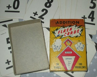 Vintage Flashcards Addition Math - Lot of 100 cards All to GO - Fairchild