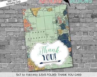 Adventure Awaits airplane map THANK YOU CARD folded 12124 digital printable baby shower birthday retirement wedding bridal stationary