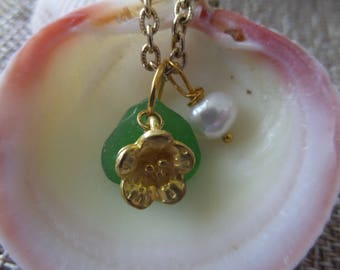 Flower Necklace with Green Scottish Sea Glass and Pearl, Gold Chain, Tiny Jewelry, Gift from Scotland