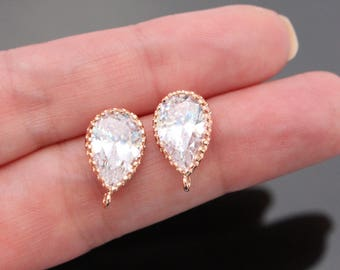 Rose Gold CZ Sterling Silver Post Drop Crystal earring post Findings, Earring Base setting, Wedding Jewelry Supplies, 2 pc, J518546