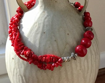 Striking Coral & Sterling Silver Necklace