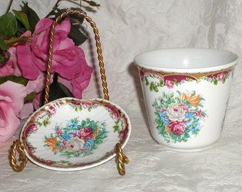 MABA Porcellane Aristiche T. Limoges Hand Painted Floral Cachepot and Small Dish Great Gift For Mother's Day
