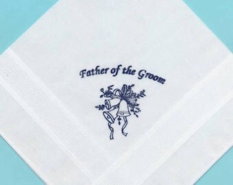 50% DISCOUNT: Father of the Groom Screenprinted in Black Wedding Bell Print Quality Cotton Handkerchief
