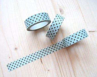 Aqua and Brown Tiny Stars Washi Tape - Washi Tape 10 mt - Aqua and Brown Tiny Stars Planner Washi Tape - 15mm x 10 mt - Happy Planner -