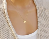 Dainty Disc Necklace, Simple Minimal Everyday Layering Necklace, Initial Necklace, Mothers Necklace, Bridesmaid Gifts, 14k GF, S/S, RG 9MM