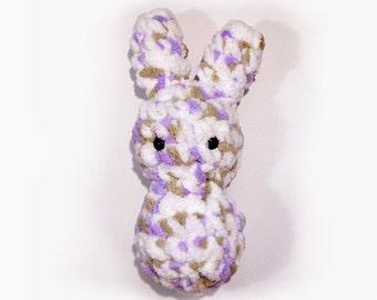 Spotty Bunny Floof - Super Soft & Cuddly Crochet Plushie Stuffed Toy Animal - 7.5 inch Plush Rabbit Baby Childrens Toy in White Purple Brown