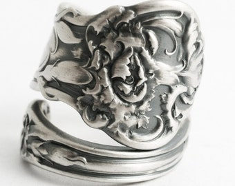 Carnation Ring, February Flower Ring, Sterling Silver Spoon Ring, Vintage Art Nouveau Floral Jewelry, Gift for Her, Custom Ring Size (6579)