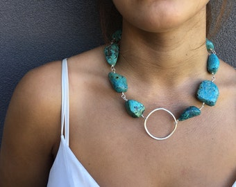 Chrysocolla Statement Necklace | Chrysocolla Beaded Necklace | Statement Necklace | Chrysocolla Necklace