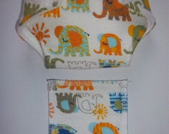 "Baby Doll Diaper/wipe - cute baby and adult elephants - ""follow the leader""   - adjustable for many dolls such as bitty baby"