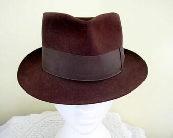 Vintage Chocolate Brown Fur Felt Trilby Hat Size 7 Wartime Style Heath-Wood
