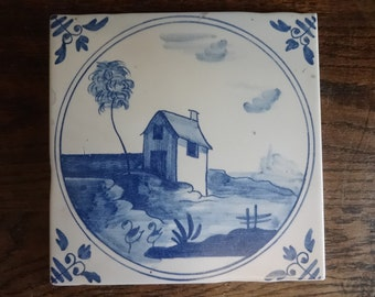 Vintage Italian Delft Style large wall tile blue white sold individually aged look reproduction house river tree c 1980-90's / English Shop