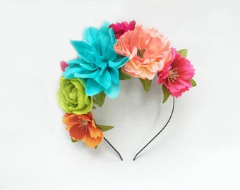 Side Frida Flower Crown, Frida Kahlo Headpiece, Side Flower Headband, Fiesta, Mexican Floral Crown, Turquoise, Peach, Tropical Flower Crown