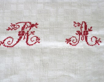 Antique French Linen Tablecloth With Red Cross Stitch Monogram of RA Hand Sewn Late 1800's