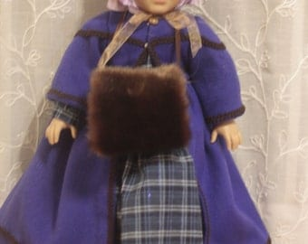 A is for Annabelle coat bonnet and muff set for 18in American girl dolls