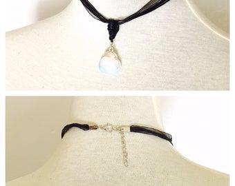 Romantic Black Lace choker, crystal pendant, dainty, Goth, juvenile, item no. De421