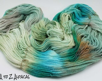 Hand Dyed Pure Alpaca Yarn Worsted Weight - A hint of minty freshness