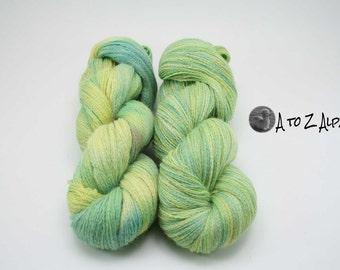 Hand Dyed Pure Alpaca Yarn Lace Weight  - Lemon Lime Twist