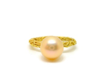 18k Gold Ivy Ring with Golden Pearl - Thin, Romantic, Wreath Ring, Wedding, Engagement, Promise, Freshwater, Gift for her