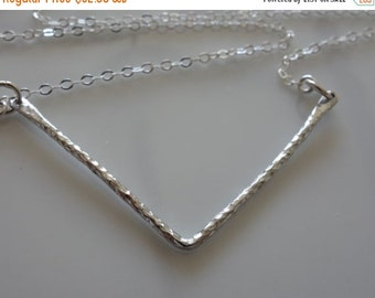SALE - Gift Necklace Chevron Necklace in sterling silver, hammered, geometric pendant, statement necklace, v shape necklace