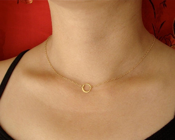 SMALL Single CIRCLE in a Gold Filled Chain, sterling silver