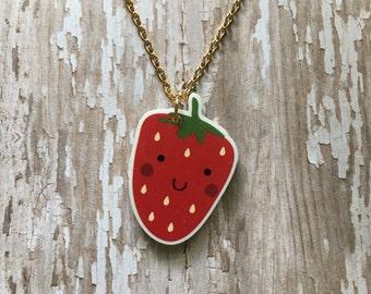 Happy strawberry necklace