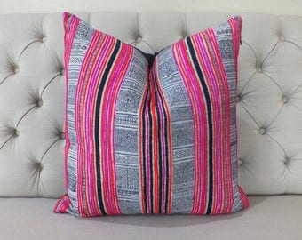 "22""By22, Vintage Cushion covers, Batik Hmong Pillow case, Handwoven Hemp Fabric,Scatter cushions"