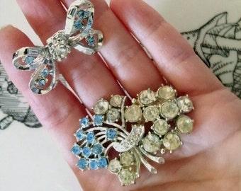 Vintage Blue Bell Brooch Set Something Blue Gems Costume Jewelry Pin Set