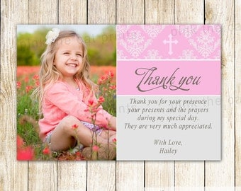 Printable Thank You Card Girl Baptism - Pink Damask Photo Thank You Card Notes 1st Communion Girl Christening Girl Dedication Party Item