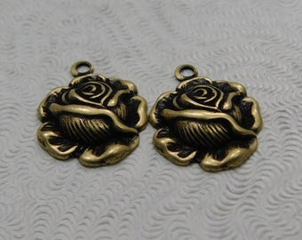 LuxeOrnaments Small Oxidized  Brass Filigree Rose Pendant (Qty 2)  AT-6636-1-B
