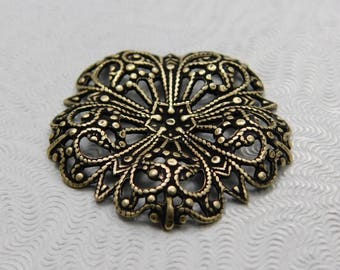 LuxeOrnaments Oxidized  Brass Filigree 29mm Dapped Focal Flower AT-3678