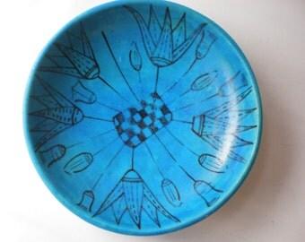 Vintage Aqua Blue Art Pottery Metropolitan Museum of Art Faience Ceramic Plate or Dish