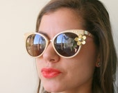 The GOLDEN GIRL Floral Sunglasses....bride. handmade. cream. retro. round. hipster. kitsch. shades. summer. party glasses. jackie o. twiggy