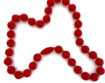 Vintage Red Celluloid  Necklace