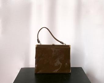 1960's Tall Chocolate Brown Vinyl Handbag